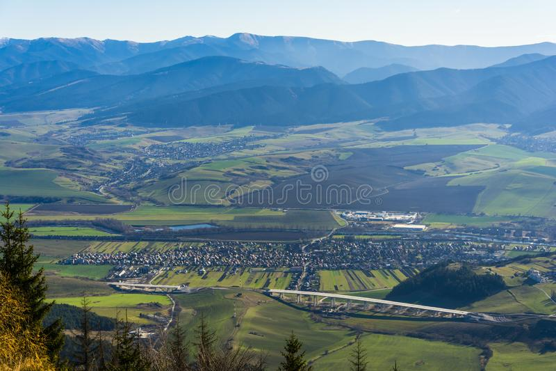 Village Liskova in the valley in the Liptov region in Slovakia stock photos