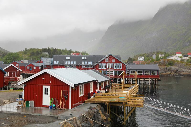 A village, Lofoten royalty free stock photography