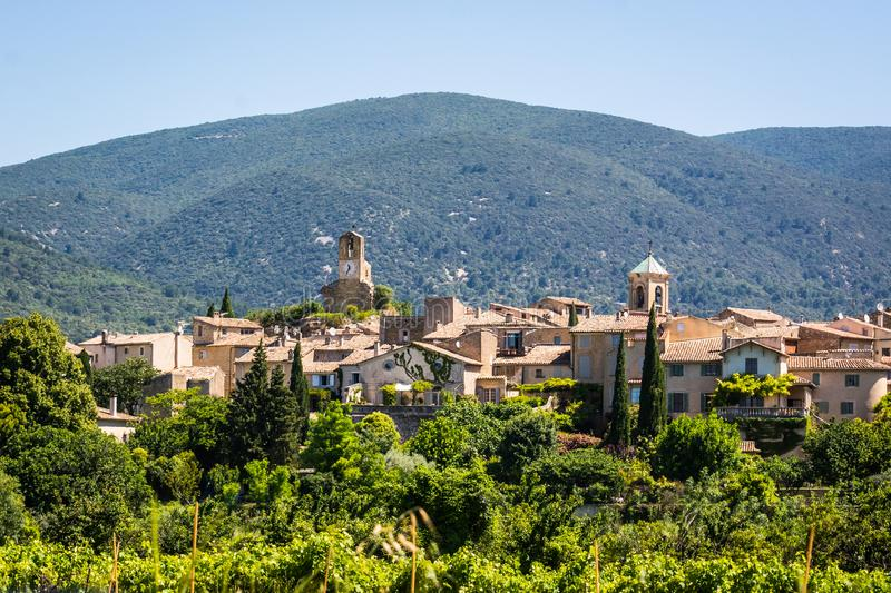 Village of Lourmarin. Listed as the most beautiful villages of France. Provence-Alpes-Cote d`Azur stock photos