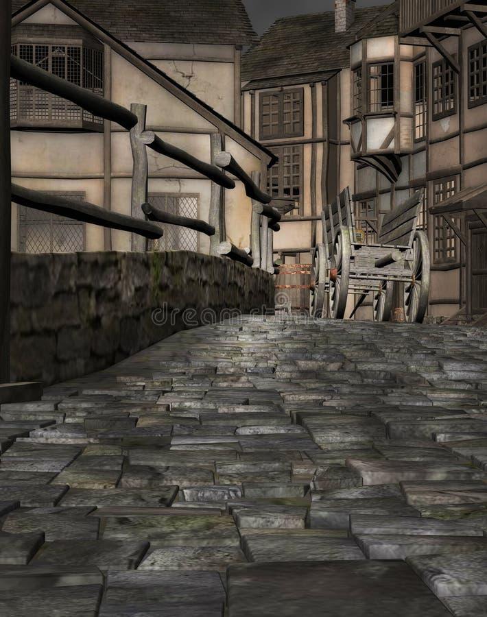 Village médiéval de ville illustration libre de droits