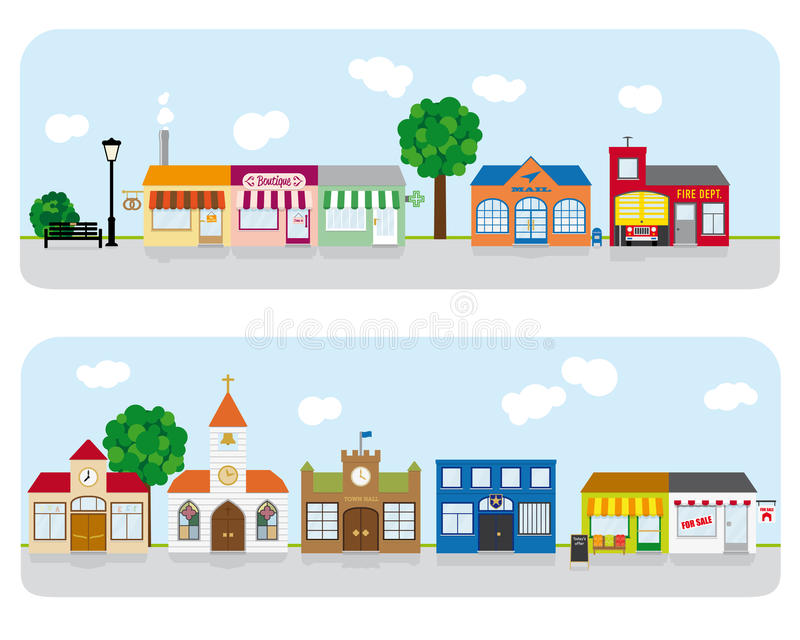 Village Main Street Neighborhood Vector Illustration. Vector Illustration of small town main street with shops, church and public buildings. All objects are royalty free illustration