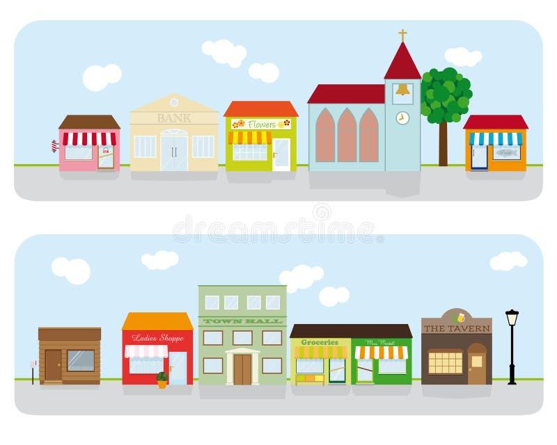 Village Main Street Neighborhood Vector Illustration vector illustration