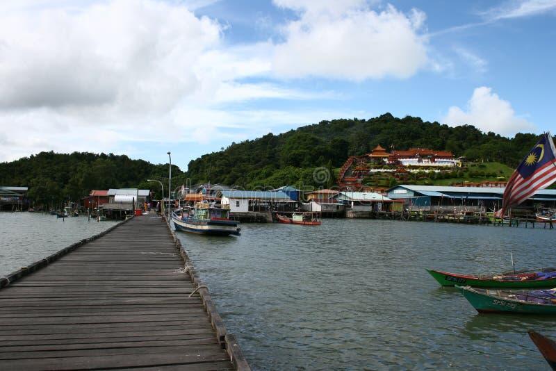 Village malaisien de pêcheurs photos stock