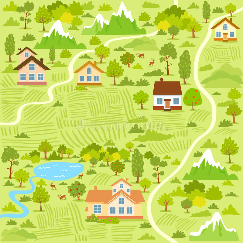 Village map vector illustration