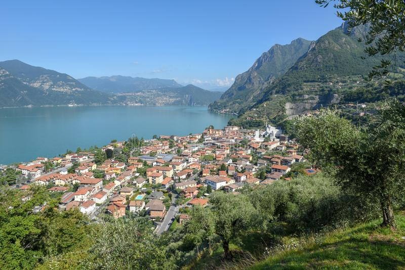 The village of Marone on lake Iseo, Italy. The village of Marone on lake Iseo in Italy royalty free stock images