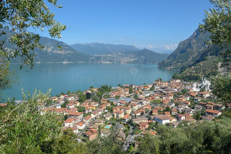 The village of Marone on lake Iseo, Italy. The village of Marone on lake Iseo in Italy royalty free stock image