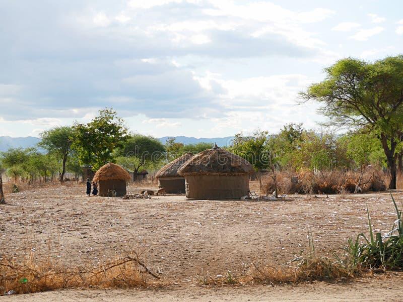 The village of the masses on the Tarangiri safari - Ngorongoro in Afric. A, the mass houses, the beautiful view of Africa, jeep safaris in Tarangiri - Ngorongoro stock photos