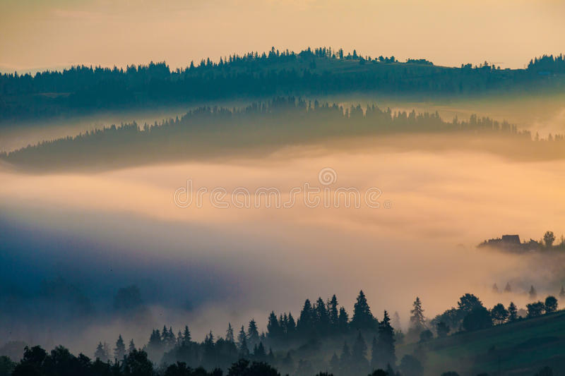 Download Village in the mist stock photo. Image of rise, shadow - 62219614