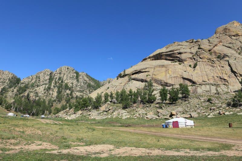 Village Mongolie de Yurt photographie stock