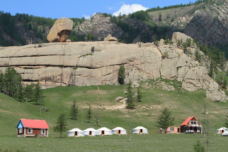 Village Mongolie de Yurt images stock