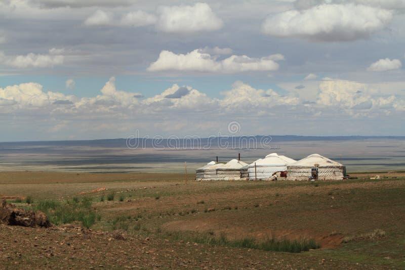 Village Mongolie de Yurt image libre de droits