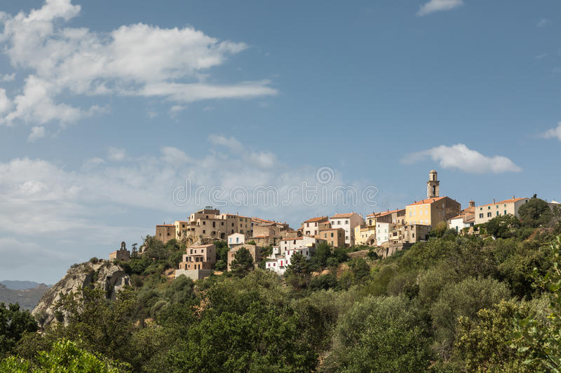 Village of Montemaggiore in the Balagne region of Corsica. Houses and church tower in the mountain village of Montemaggiore in the Balagne region of Corsica stock photography