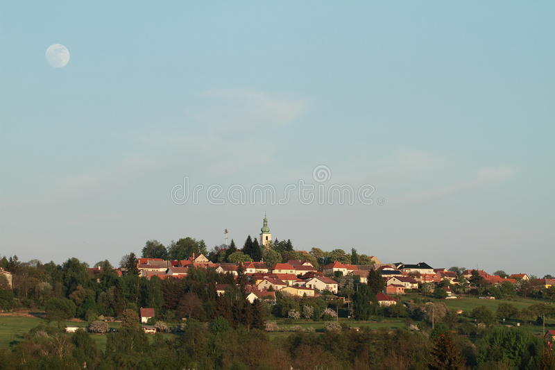 Download Village with the moon stock image. Image of hill, church - 24820923