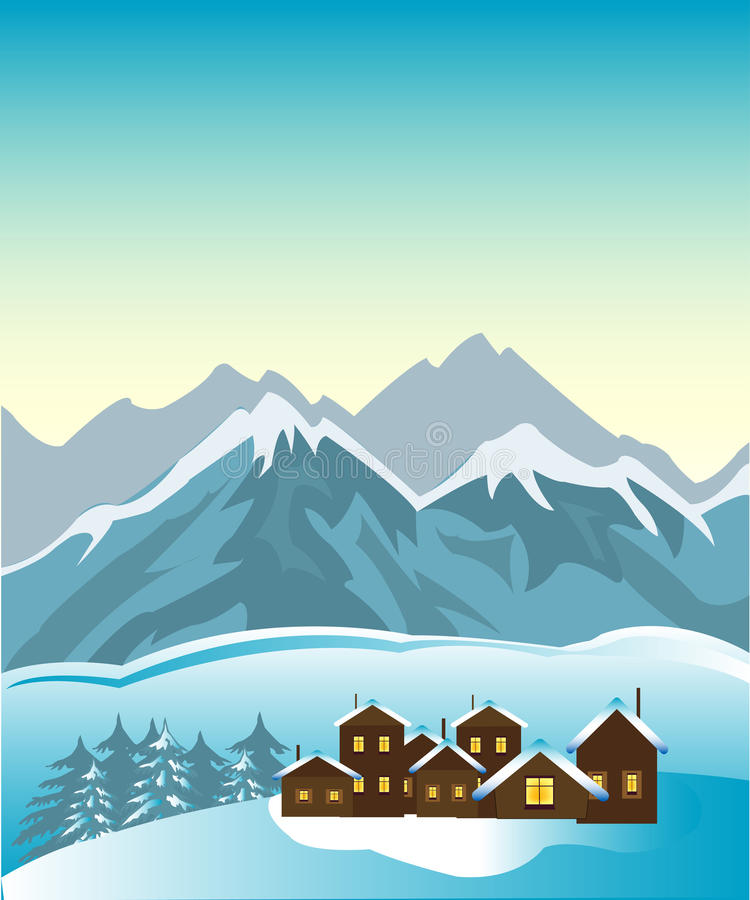 Village in mountain. Small village beside foots of the high mountains vector illustration
