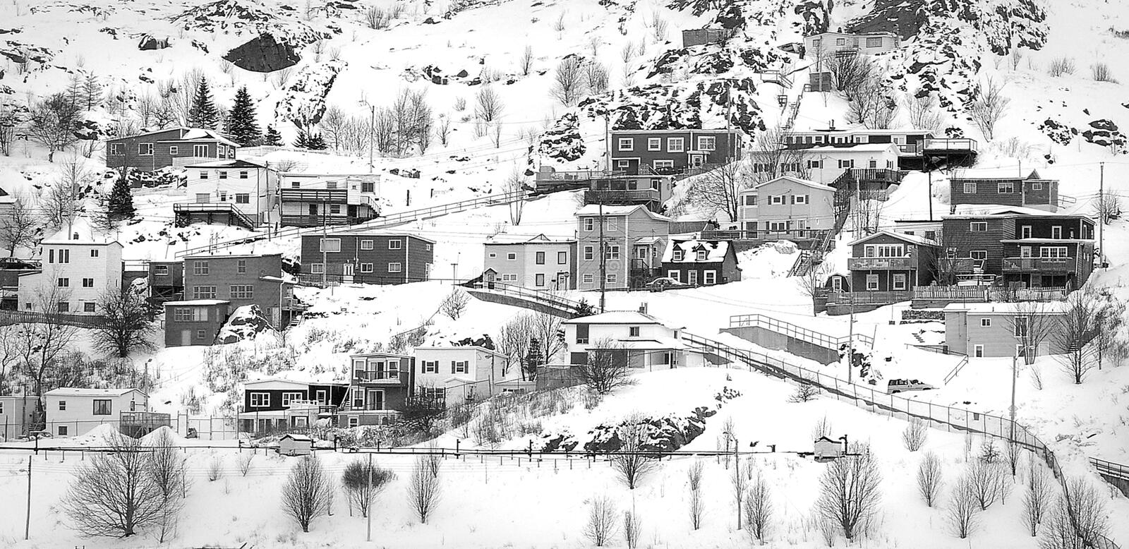 Village On Mountain Covered With Snows Free Public Domain Cc0 Image