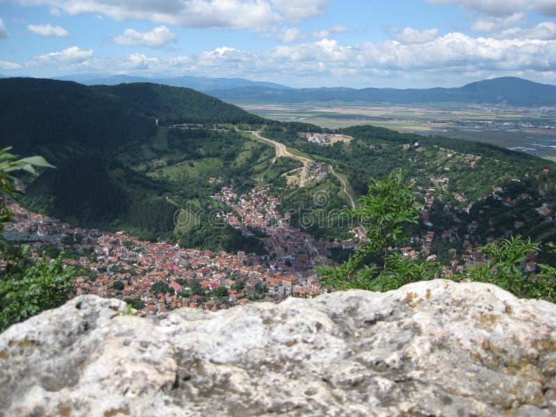 Village in mountainous landscape stock image