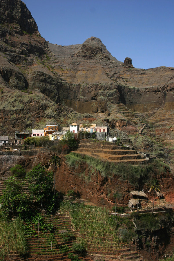 Village in Mountains of Cape Verde royalty free stock photos