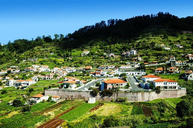 Village in the Mountains in the north of the Island of Madeira. Madera is a very mountainous Island with steep cliffs falling into the Atlantic Ocean. Mists royalty free stock images