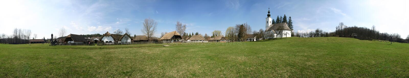 Village museum panorama stock photography