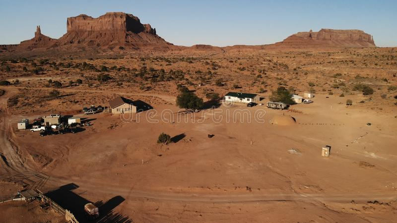 Village near the Oljato–Monument Valley in Arizona. Ranch hou. Se. Aerial view, from above, drone shooting royalty free stock photography