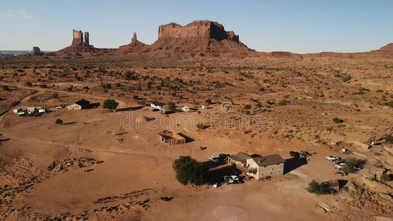 Village near the Oljato–Monument Valley in Arizona. Ranch hou. Se. Aerial view, from above, drone shooting stock photos