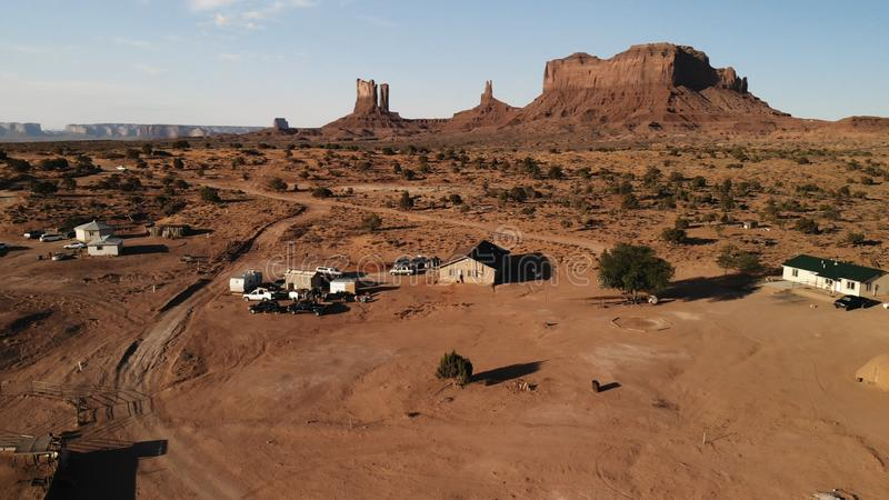 Village near the Oljato–Monument Valley in Arizona. Ranch hou. Se. Aerial view, from above, drone shooting royalty free stock images
