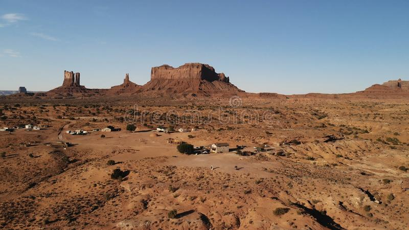 Village near the Oljato–Monument Valley in Arizona. Ranch hou. Se. Aerial view, from above, drone shooting stock photo