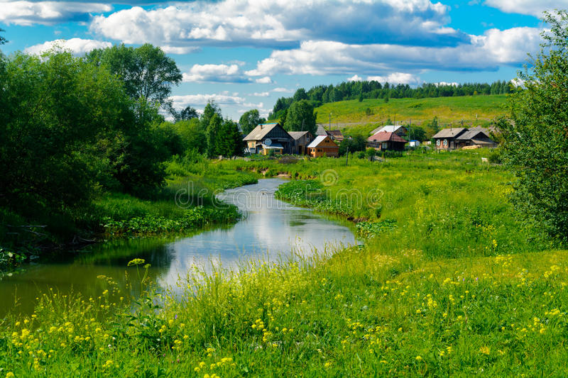 Village near a river royalty free stock image