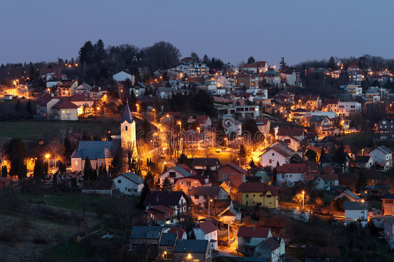 Village at night stock photos