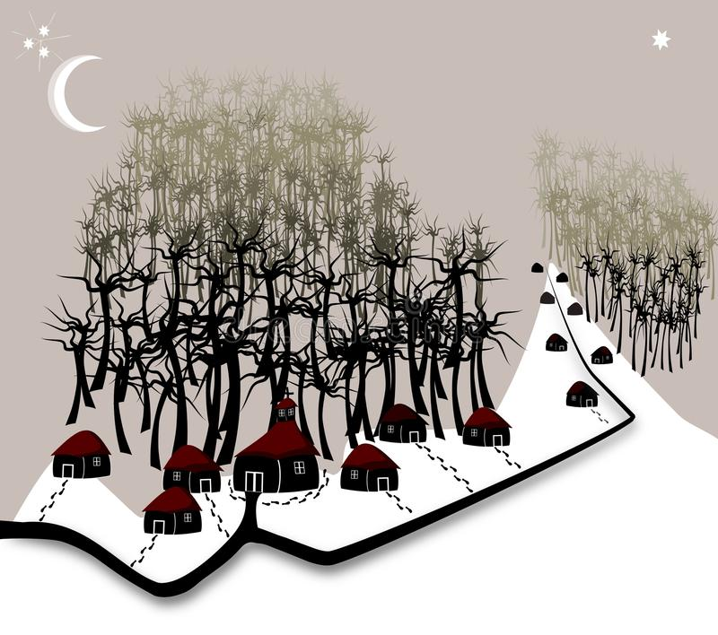 Download Village night stock vector. Illustration of road, cold - 23487432
