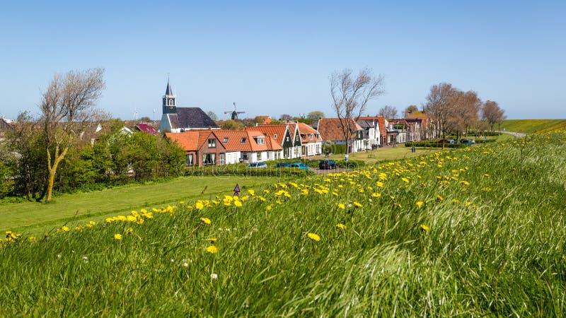 Village Oudeschild sur l'île de Texel aux Pays-Bas photographie stock libre de droits