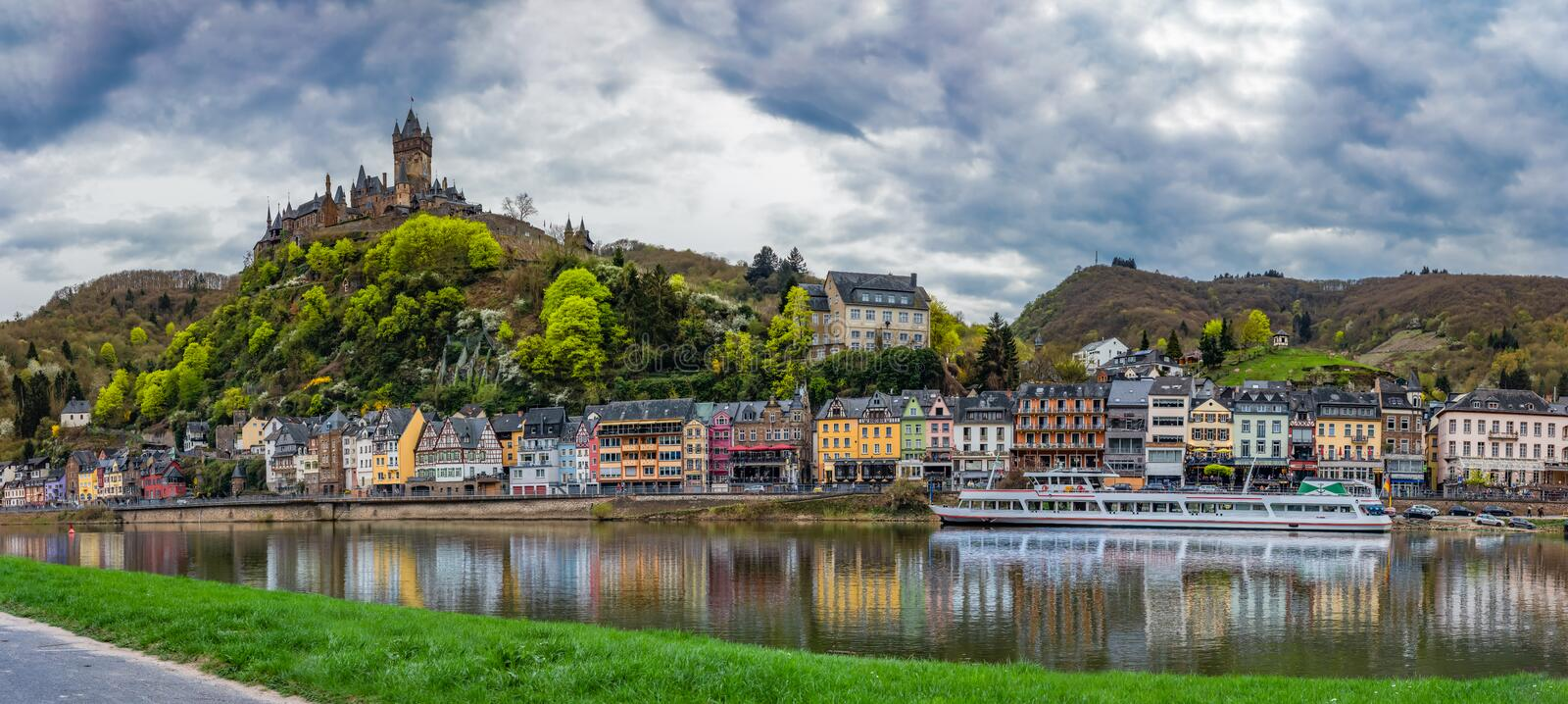 Village Panorama on River with Castle on Hill, Cochem, Germany royalty free stock photography
