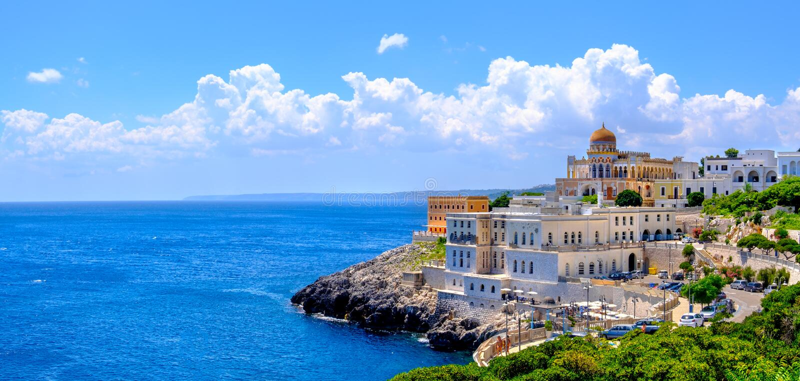 Village panoramique Lecce de Pouilles Santa Cesarea Terme de paysage de Salento images stock