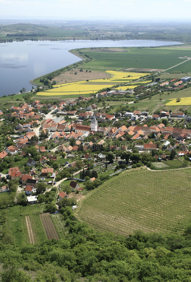 Village of Pavlov in Southern Moravia. Small and picturesque village Pavlov near the Nove Mlyny dam in South Moravia wine growing region Palava, Czech Republic stock image