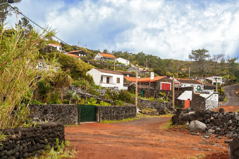 Village on Pico Island. Village with traditional lava stone houses on Pico Island, Azores stock photos