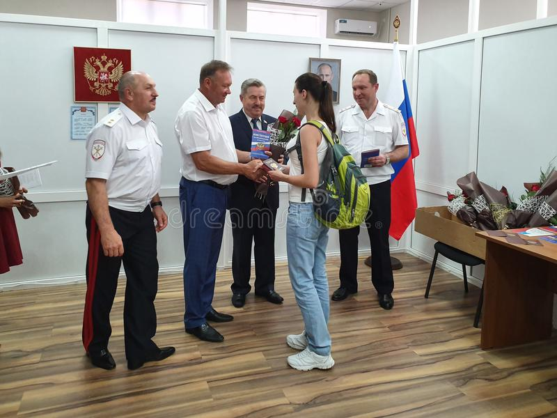 VILLAGE OF POKROVSKOYE, NEKLINOVSKY DISTRICT, ROSTOV OBLAST, RUSSIA, June 14, 2019, the opening of a Center for issuing passports stock photo