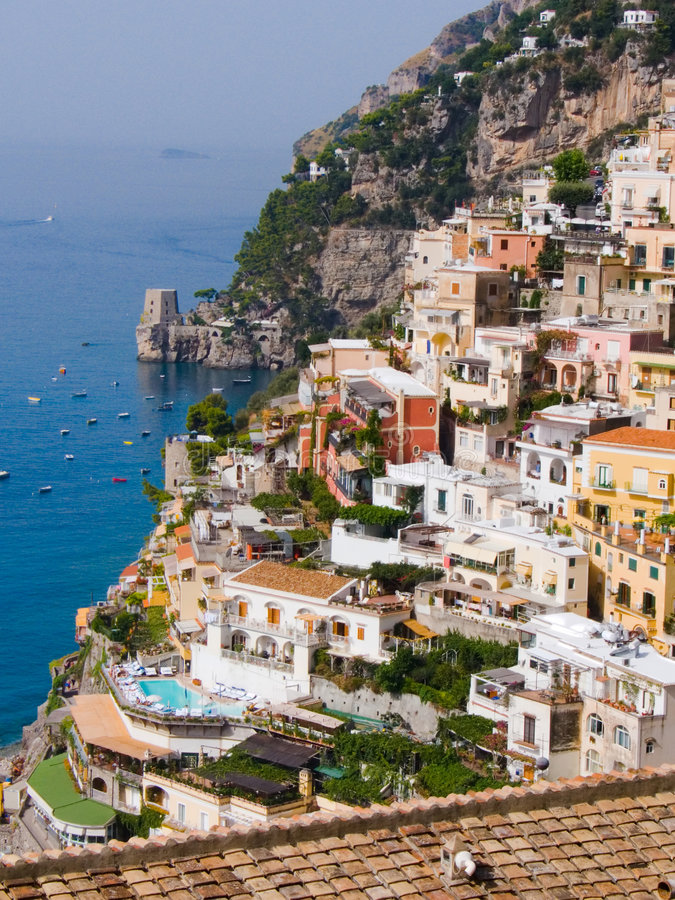 The village of Positano stock photography