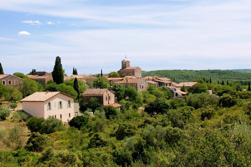 Village of Provence France. View on provencal village landscape, Provence, France. On sunny summer day stock photos