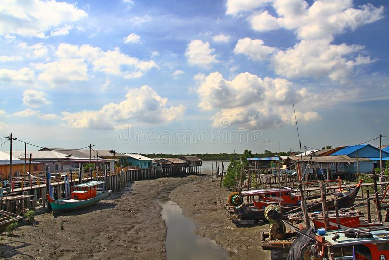 Village Pulau Ketam (Crab Island), Malaysia. stock photography