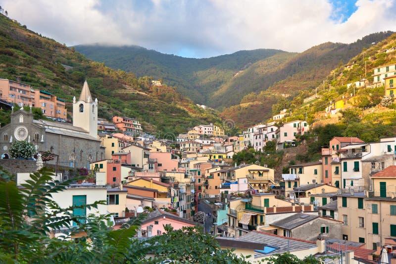 Village of Riomaggiore, Cinque Terre, Italy stock photos
