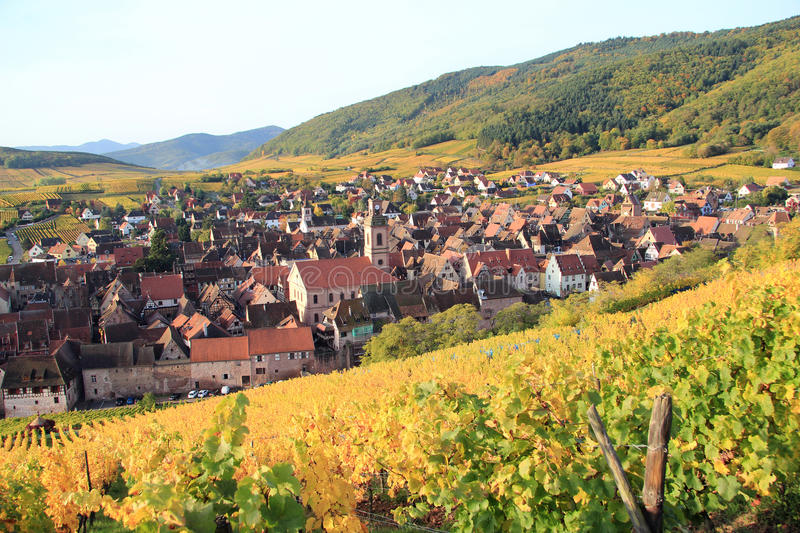 The village of Riquewihr in Alsace stock image