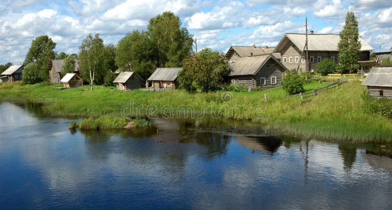 Village by the river royalty free stock images