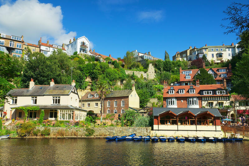 Village on river bank in Knaresborough, UK