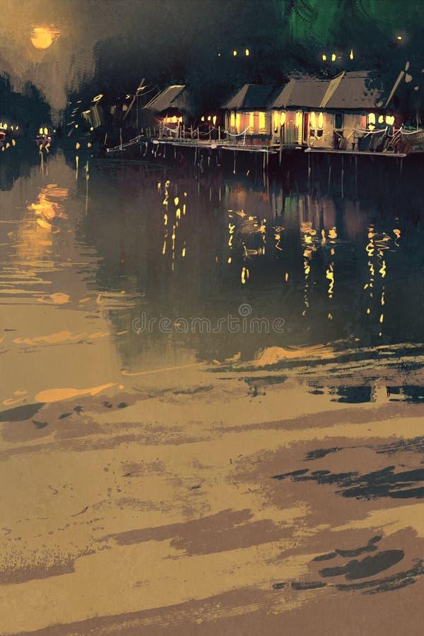 Village beside river vector illustration