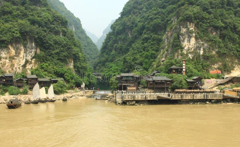Village river side. Village Yangtze river side travel station royalty free stock photos