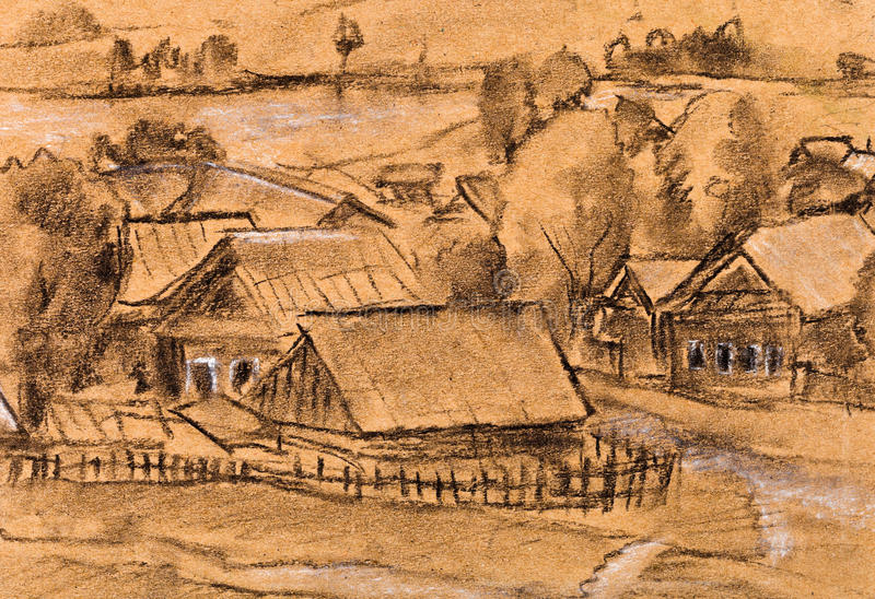 Download Village at the river stock illustration. Image of panorama - 32499730