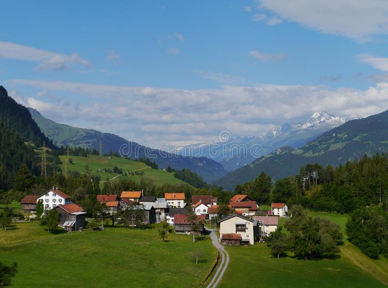 A village in the Ruinaulta or Rhine canyon stock photo