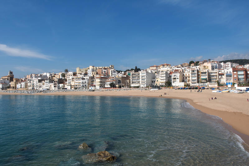 Village of Sant Pol de Mar in Barcelona province, Catalonia, Spa. In stock photo