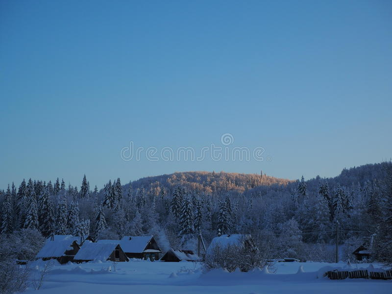The village of Sarva under clear sky stock image