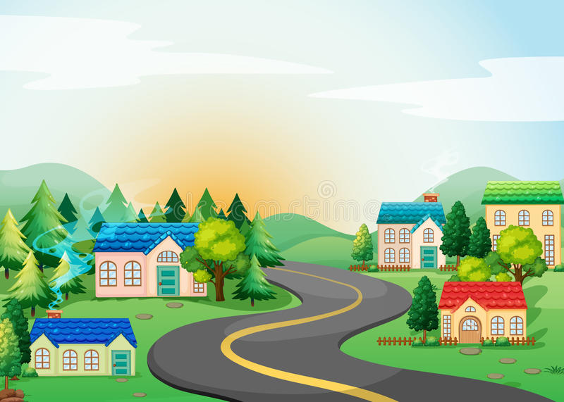 Village. Scene of village in the countryside vector illustration